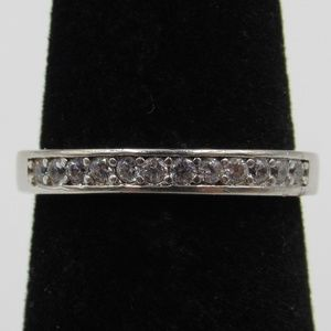 Size 4.75 Sterling Silver Simple CZ Diamond Band